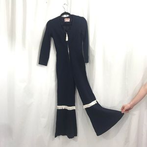 60s Quincy Mod Navy Bell Bottom Fringe Jumpsuit XS
